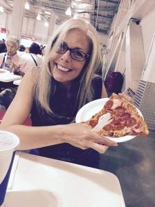 My buddy Stephanie, enjoying a post-shopping slice. Doesn't she have a great smile?