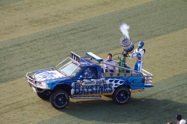 The SUV-mounted Power Ranger bazooka.