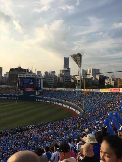 The BayStars fans in blue