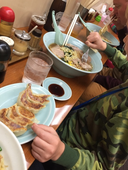 "Cy guards the ""shared"" order of gyoza."