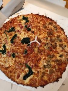 Spinach-pancetta and sausage-mushroom